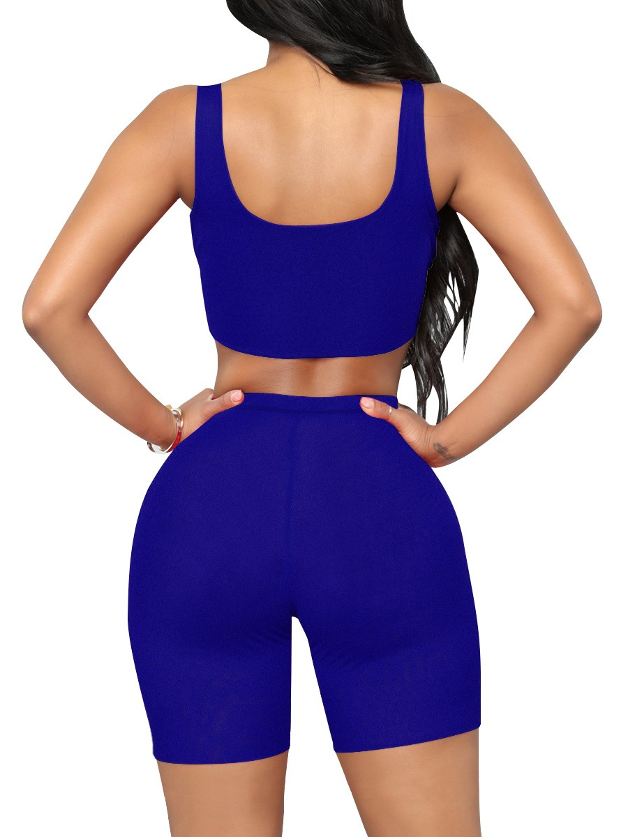 Upgrade Royal Blue Solid Color Tight Sweat Suit High Rise Good Elasticity