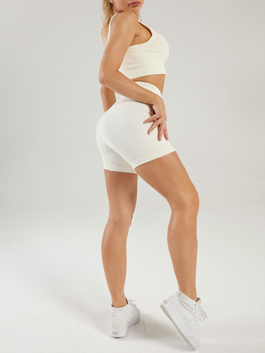 Creamy-White Seamless Yoga Bra Low Neck And Shorts Suit For Ladies