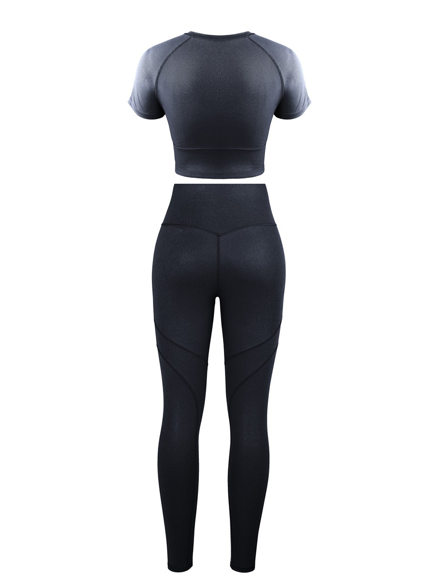 Black Short Sleeves High Waist Yoga Suits Quick Drying