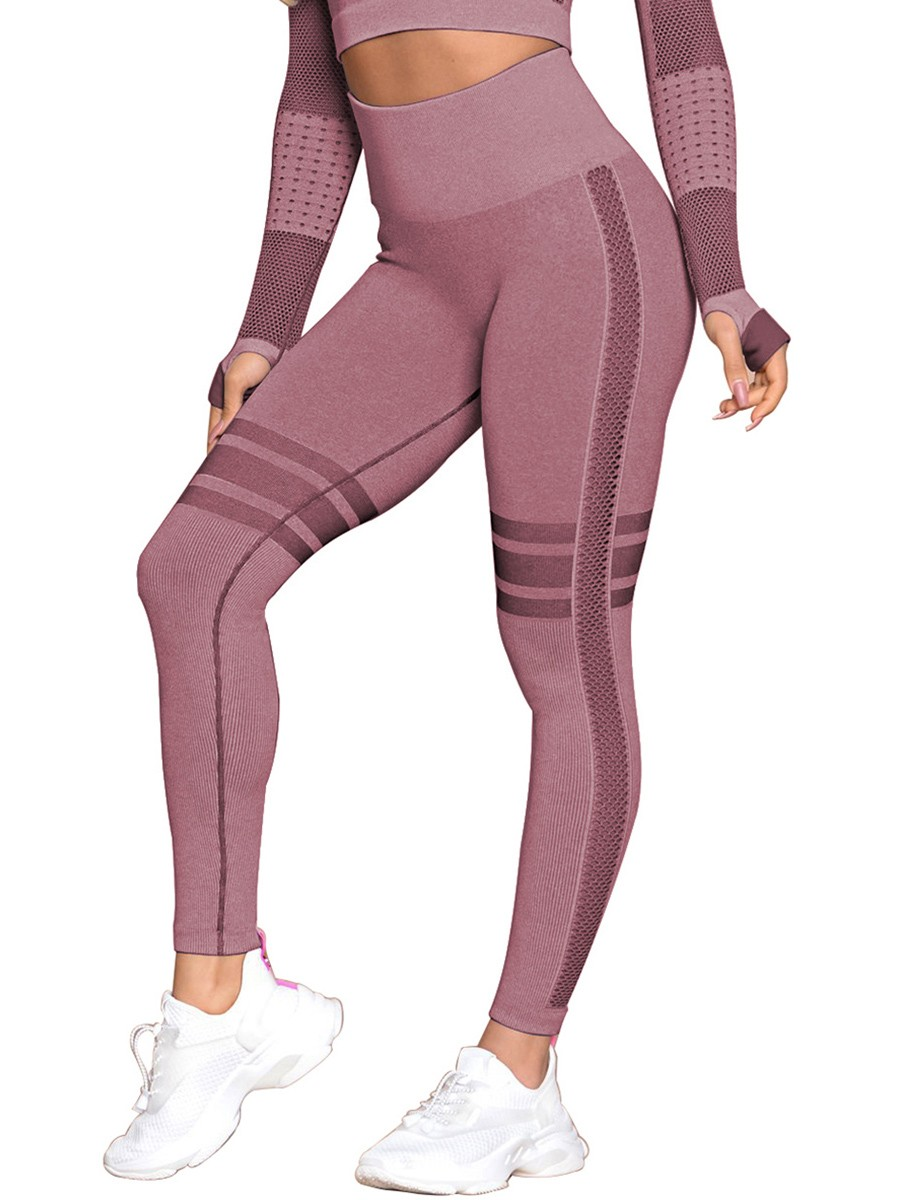 Shimmer Wine Red Seamless Yoga Leggings Ankle Length Fashion Essential