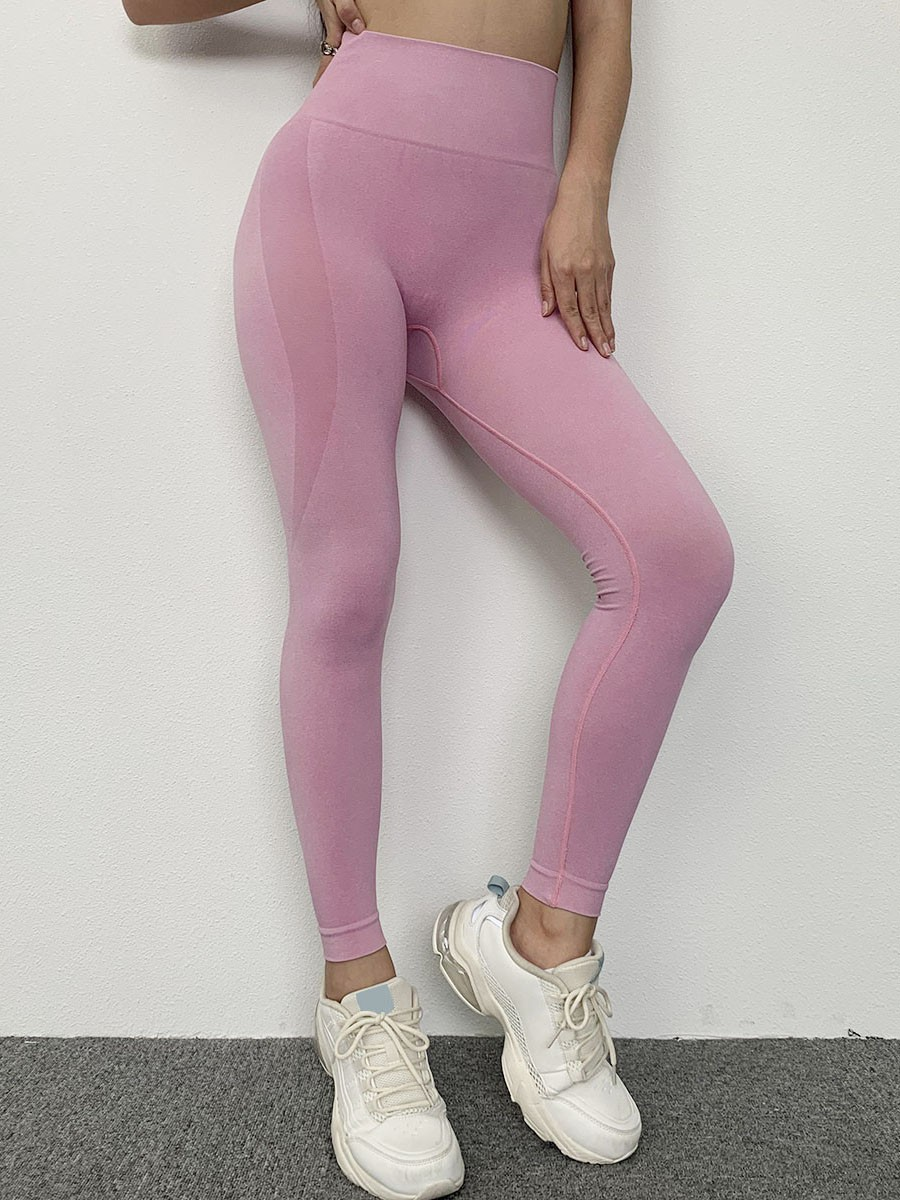 Pink Ankle Length Seamless Workout Leggings Distinctive Look