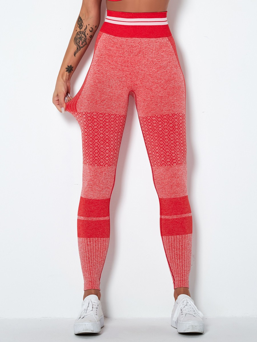 Workout Red Ankle Length Knit Running Leggings Lose Weight