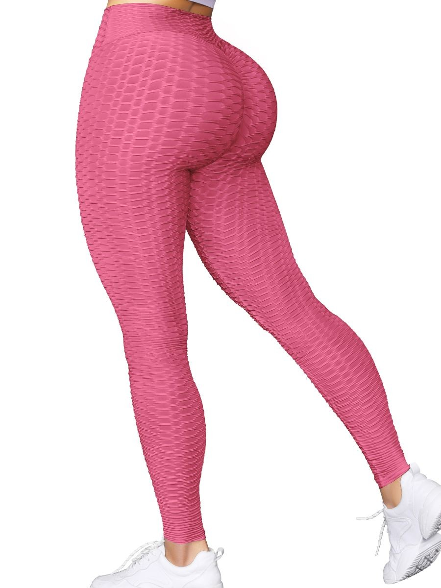 Pink High Waist Sports Leggings Ankle Length For Ladies