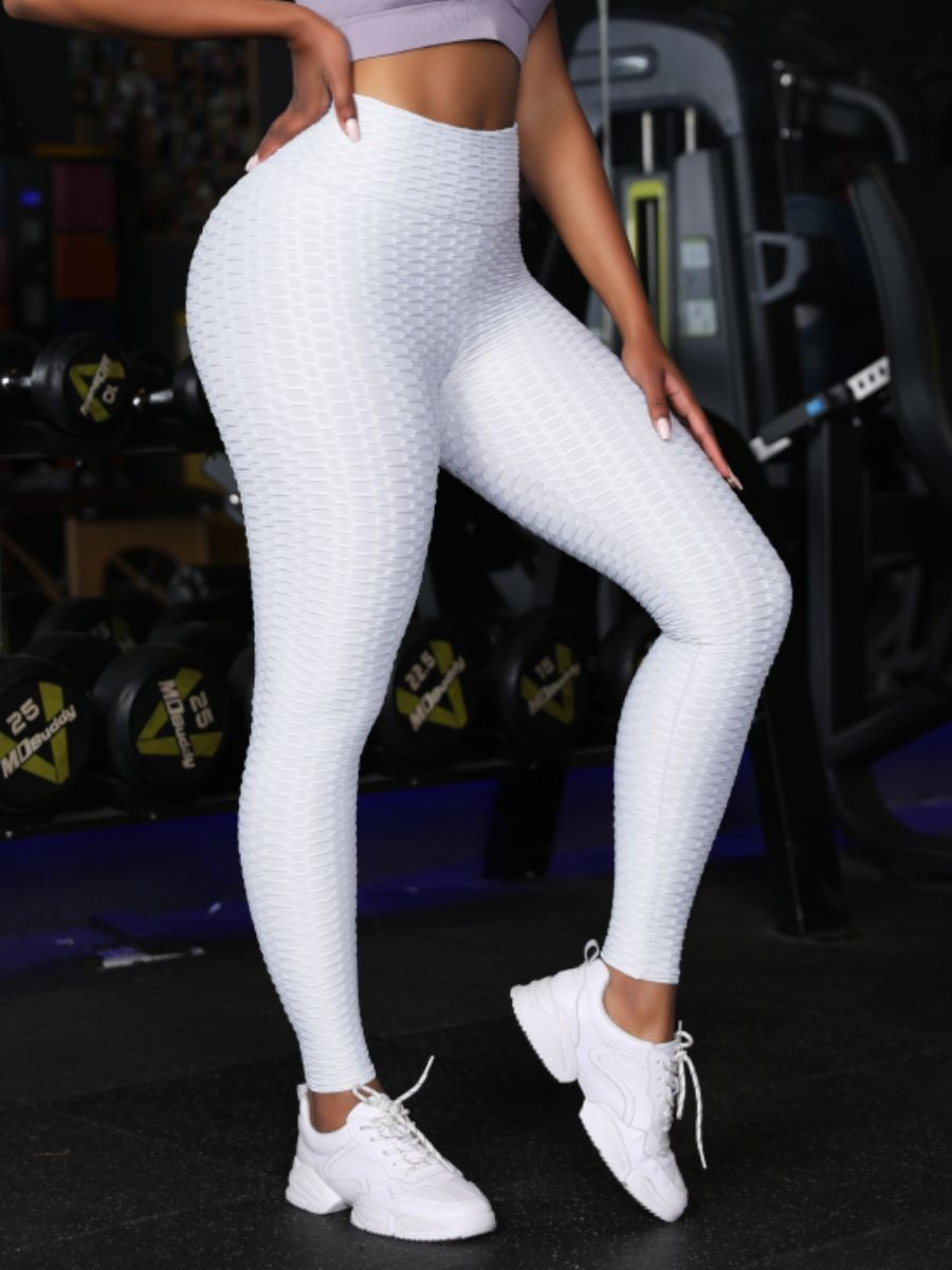 White High Waist Gym Tights Ruched Panel High Quality