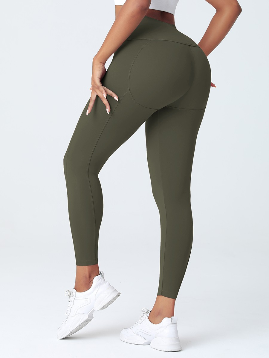 Army Green Wide Wasitband 4-Way Stretch Yoga Pants Preventing Sweat