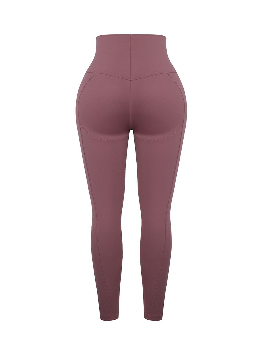 Jujube Red High Rise Contouring Stitch Lines Sports Pant Breathable