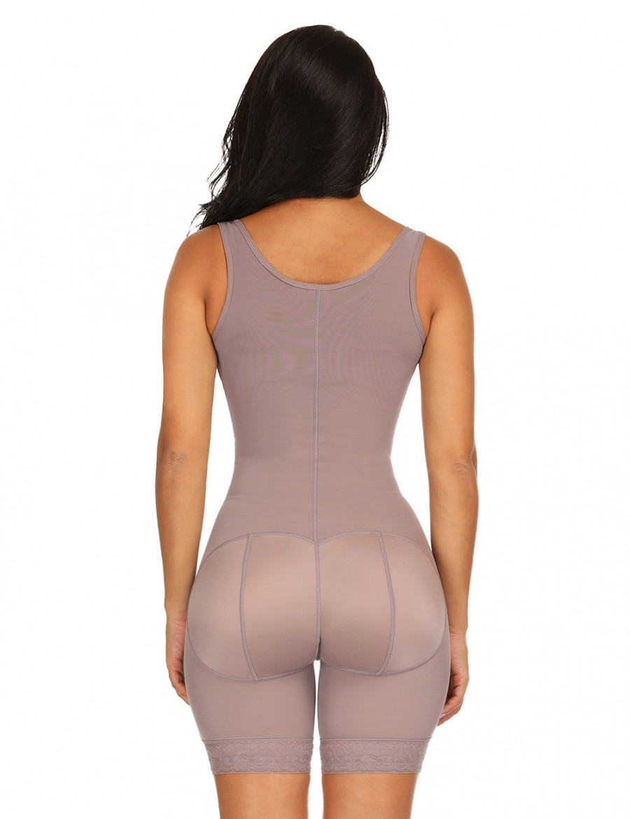 Brown Full Body Shapewear Wide Straps Plus Size Remarkable No-Curling