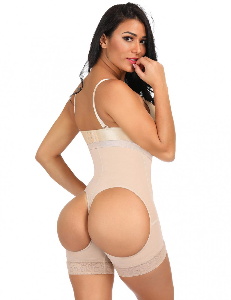 Control Midsection Nude Strengthen 3 Layers Buttless Plus Size Body Shaper Fat Burner