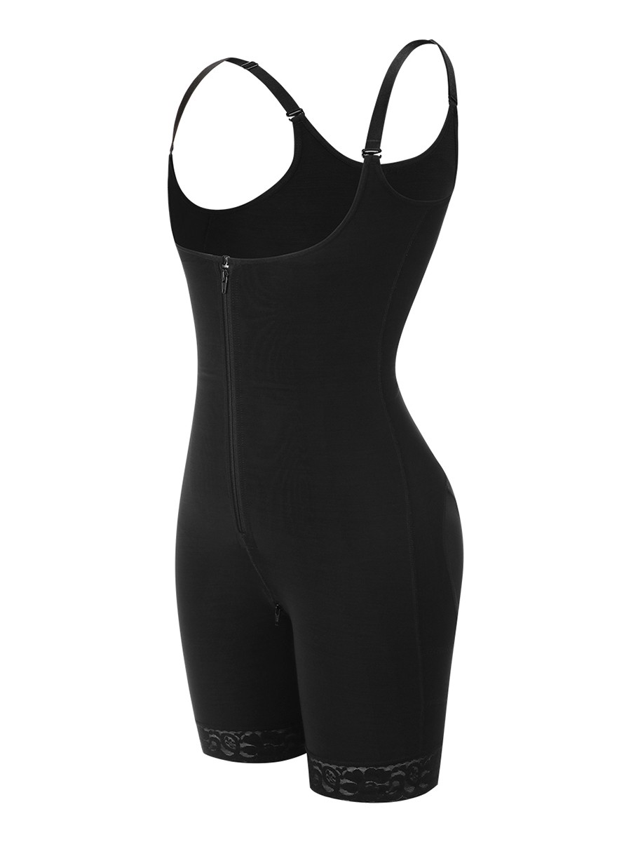 Perfect Black 3 Layers Adjustable Strap Full Body Shaper Midsection Compression