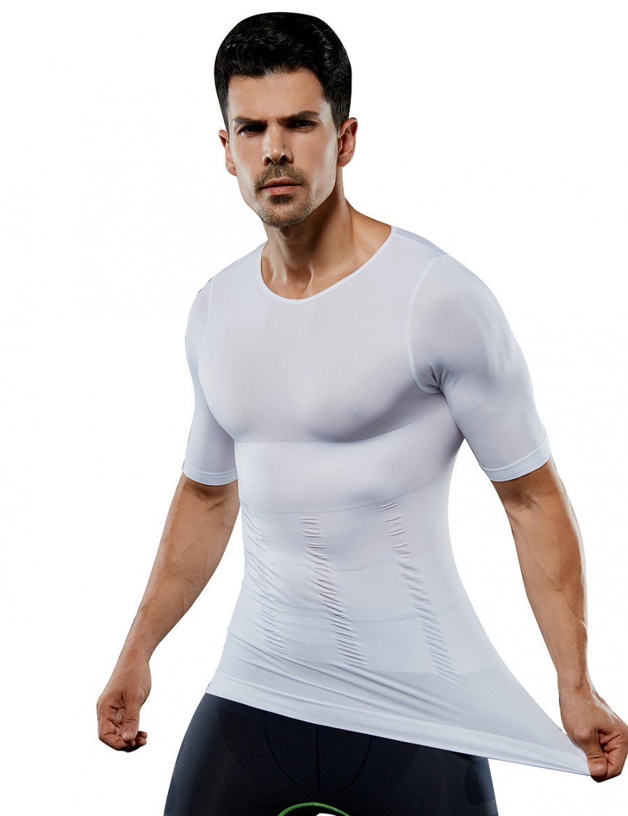 High Elastic White 2 Layers Threaded Cuff Men's Top Slimmer Daily Used