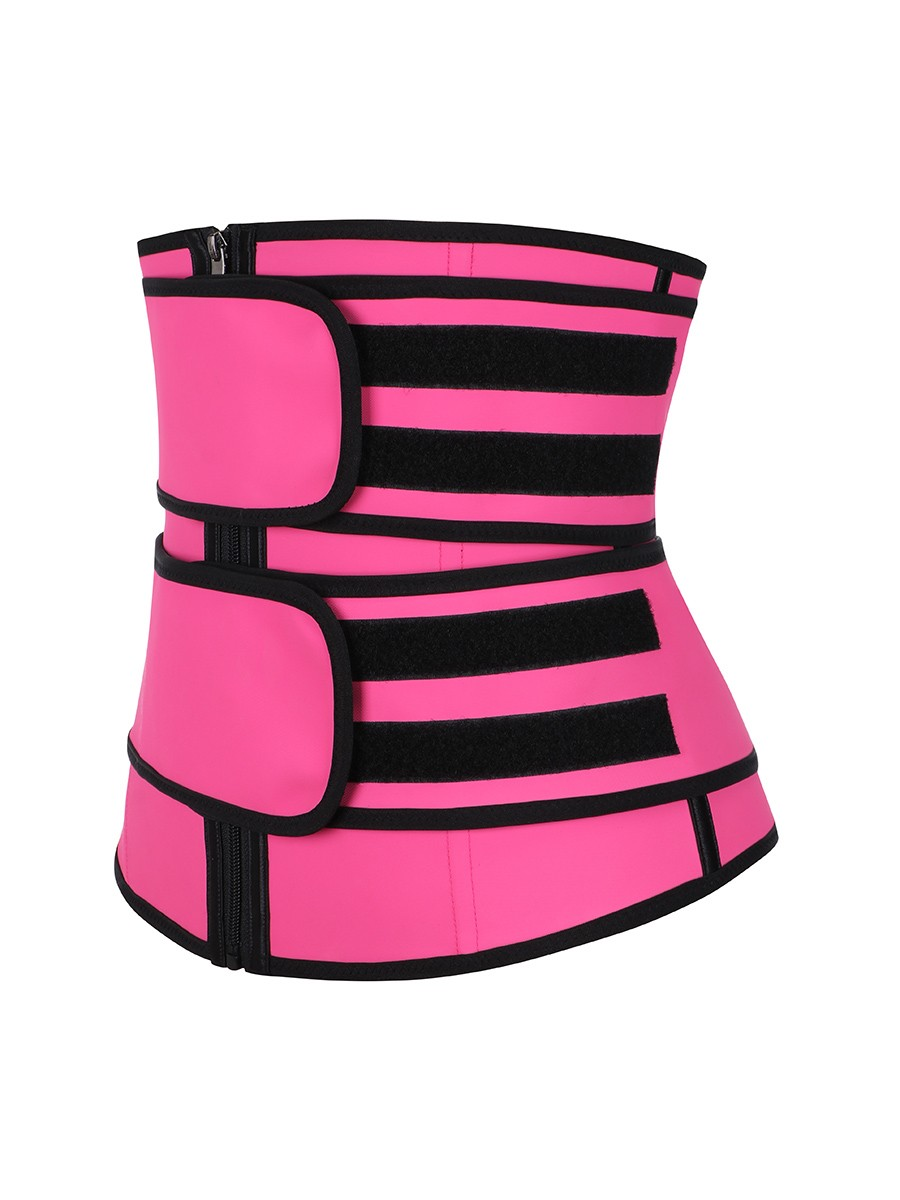 Rose Red Double Belts Latex Workout Waist Trainer Slimming Tummy