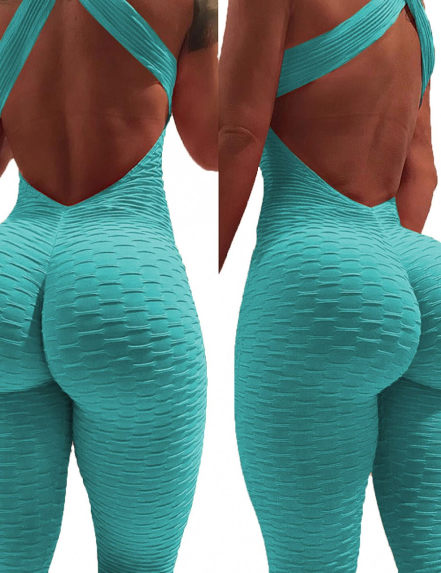 Classy Sky Blue Open Back Bodycon Rompers Crossover Ladies Grace