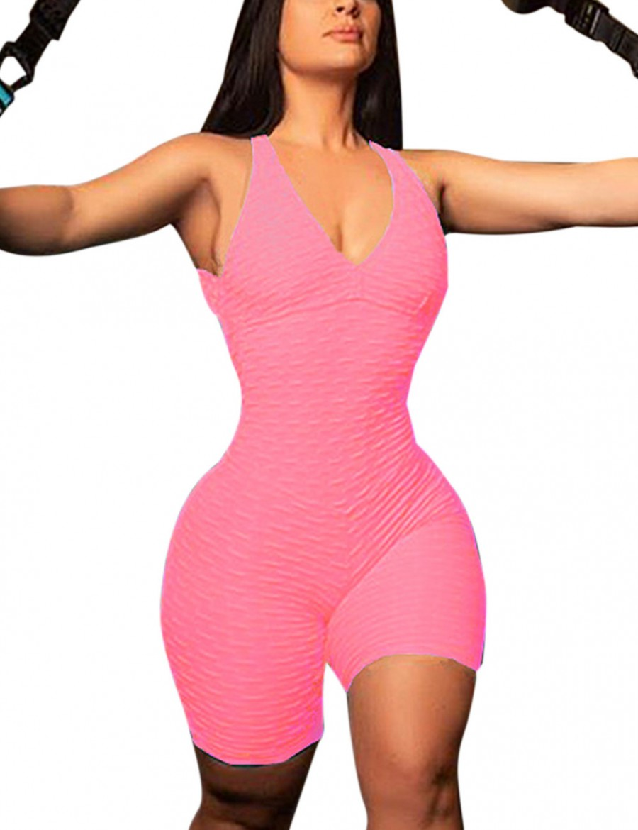 Pink Tight Booty Lift Jumpsuit Sleeveless High Elasticity