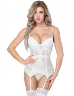Royal White Mesh Overbust Bustier Tops Slender Straps Fashion
