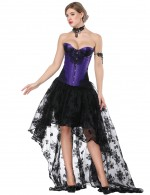 Staple Knotted Lace Patchwork Purple Corset Skirt Set Sleek Curves