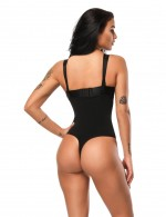 Flat Out Black Lace Trim Thong Body Shapewear Meticulous Design