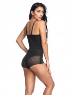 Black Lace Patchwork Smooth Abdomen Body Shaper Adjustable Straps