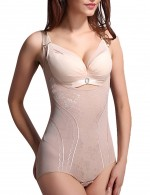 Stylish Nude Queen Size Open Bust Bodysuit Hip Enhancer