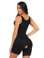 Explicitly Chosen Black Large Size Wide Straps Bodysuit Anti-Curling Shaper