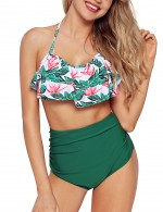 Invigorative Green High Rise Ruched Beachwear 2 Pieces For Upscale