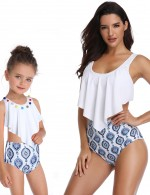Striking White Family Bikini Adjustable Straps High Waist Ruffles Soft-Touch Underwear