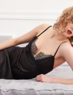 Adoring Black Lace Cami Open Back Chemise Lingerie Faux Silk Female