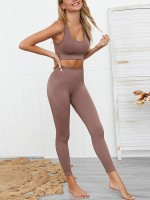 Shimmer Brown High Rise Sweat Suit Crop Top Seamless Sensual Curves