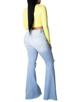 Relaxing Light Blue Flare Destroyed Jeans With Pockets Natural Fit