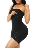 Black Full Body Shaper Glue Zipper Open Crotch Lace Firm Foundations