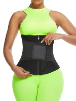 Super Trendy Black Neoprene Zipper Waist Trainer 10 Bones