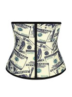 Money Pattern Latex Waist Cincher With Hooks Tummy Control