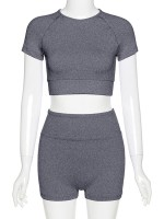 Mod Gray High Waist Crop Top And Yoga Shorts Superior Comfort