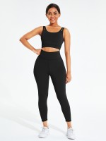 Black Seamless Sports Bra High Waist Leggings Simplicity