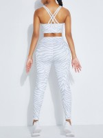 Light Gray Crisscross Sports Bra Ankle Length Leggings Quick Drying