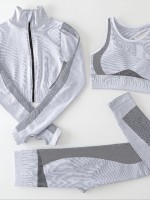 Gray Stripe Pattern 3-Piece Running Sets All Over Smooth