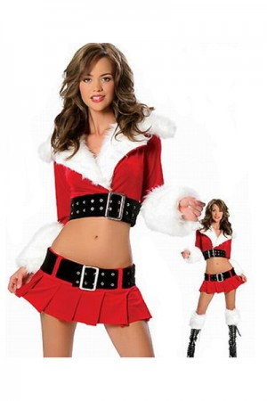 Fluff Collar Crop Top And Mini Pleated Skirt Christmas Costume