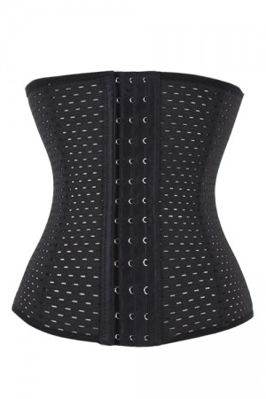 Black Hollow Out Breath Ventilate 9 Steel Boned Corset