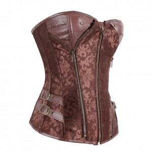 Brown Overbust Leather Zipper Corset Floral Pattern Zip Rivet Lace-up Shapewear