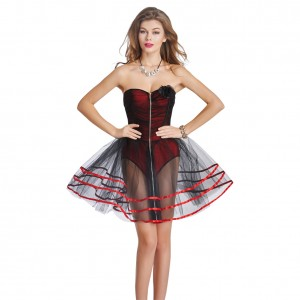 Red Sexy Bustier Back Support Overbust Corset Dress