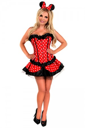 Clasp Front Corset Dress Spotted Print Miss Mouse Costume