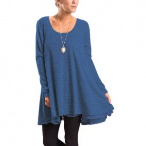 Desirable Loose Fitting Blue Round Neck Long Sleeve Two Layer Hem T-Shirt