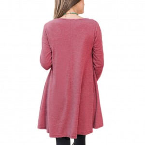 Flowy Autumn Red  Loose Two Layer Hem Round Neck Blouses Full Sleeve