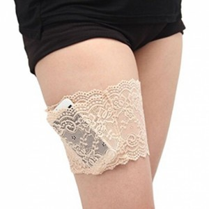 Nude Non-Slip Silicone Lace Thigh Pocket Garters With Pocket