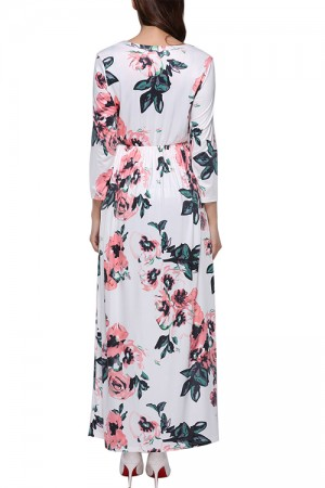 Gracious Long Sleeves Allover Floral Maxi Dress Round Neck