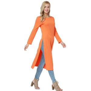 Bewitching Solid Orange Round Neck Midi Dress Long Sleeve