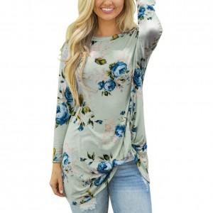 Green Floral Printed Twist Details Blouse Round Neck