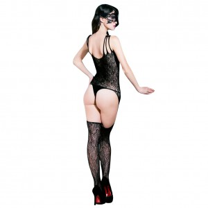 Charming Black Strappy Front Cut Floral Lace Bodystocking Whole Body Fishnet
