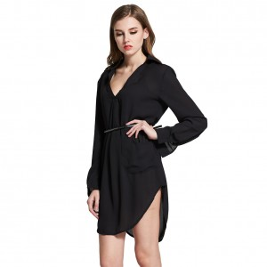 Women Loose Classic Minimalist Shirt Dress Black Casual Mini Length