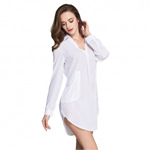 Women White Seductive Full Sleeves Shirt Dress Two Pockets