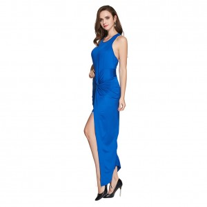 Blue Chic Structured Thigh High Split Wrap Dress Maxi